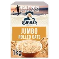 Quaker Jumbo Rolled Porridge Oats 1Kg - Clubcard Price - Only £1.50!