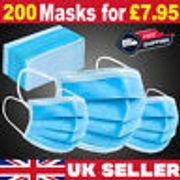 200 X Disposable Face Mask 3 PLY