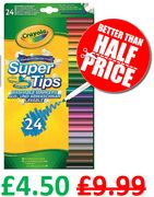 Crayola SuperTips Washable Felt Tip Colouring Pens (Pack of 24)