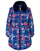Floral Check Padded Coat in Recycled Fabric Blue