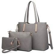 Women Fashion Handbag Shoulder Bag Purse Faux Leather Tote 3 Piece (Grey)