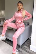 Pink Velour Hooded Tracksuit