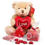 Heart Chocolates Plush Bear Scented Candle and Bath Confetti Gift Hamper