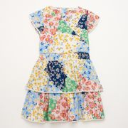 Mantaray-Girls' Multicoloured Floral Print Tiered Wrap Woven Dress