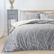 Grey & Ivory Double Duvet Set