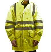 Aqua Hi Vis Yellow Humber Outer Waterproof Jacket En471 Detachable Hood