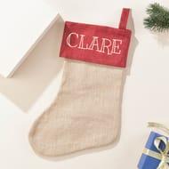 Personalised Jute Christmas Stocking - Name