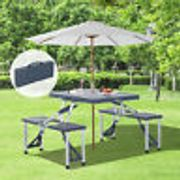 Outsunny Folding Picnic Table Chair Set Camping Aluminium Frame W/ Suitcase