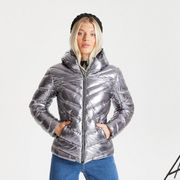 Swarovski Embellished -Insulated Quilted Hooded Luxe Jacket Chrome