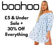 Boohoo £5 & Under Selected Sale Items + 30% off Everything Else