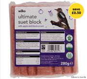 1/2 Price - Wilko Wild Bird Ultimate Suet Block Blackberry Apple