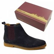 Base London Mens Ferdinand Chelsea Boots - Suede Navy