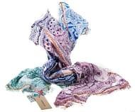 Multi Coloured Paisley Ombre 100% Cotton Scarf by Codello Free Delivery