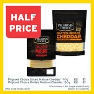Pilgrims Choice Grated Medium Cheddar / Sliced Mature Cheddar