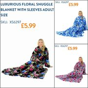 Cheap Luxurious Floral Snuggle Blanket with Sleeves Adult at Xs-stock