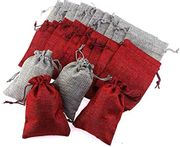 24 Pcs Linen Jute Drawstring Gift Bag + 24 Number Tags + 24 Wooden Clips