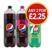 2 X 2ltr Bottles of Pepsi Max, Pepsi Max Cherry or 7Up