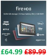 "£25 OFF - Fire HD 8 Tablet, 8"" HD Display, 32 GB - ALL COLOURS"