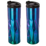 2 X Reusable Oil Slick Design Coffee Travel Mug Portable Double Wall Cup