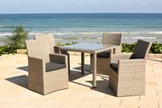 Barcelona Rattan Wicker 4 Seat Square Dining Set with Cushions & Furniture Cover