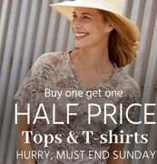 Buy One Get One Half Price  on Tops and T Shirts