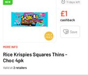 Rice Krispies Squares Thins with Cashback