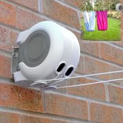 26m Double Retractable Clothes Washing Line Outdoor Wall Mounted Reel Airer