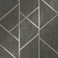 Milan Geo Metallic Wallpaper Charcoal, Gold