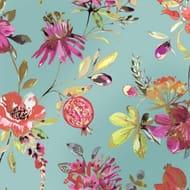 Lotus Floral Metallic Wallpaper Soft Teal