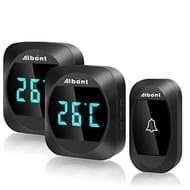 Wireless Doorbell,Thermometer,IP44Waterproof Twin Wall Plug-in
