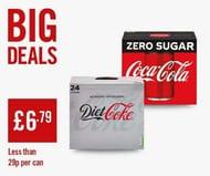 Coke Zero/Diet Coke 24 X 330ml Can Boxes Are £6.79