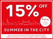 15% off Selected Stays from 17th May 2021 to 1st September 2021.