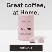 Grind Coffee £10 off and Free Tin - 30 Pods,Beans or Ground for £3.50