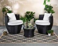 Rattan Garden Vase Set in Black and Vanilla