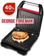 PRICE DROP! GEORGE FOREMAN Small Red Steel Grill 25030