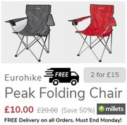 Eurohike Peak Folding Chair | Only £10 EACH | TWO FOR £15 | FREE DELIVERY