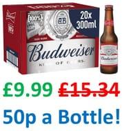 Budweiser Lager Beer 20 X 300ml Bottles - 4.5% ABV