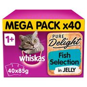 Hiskas Pure Delight Adult 1+ Wet Cat Food Pouch Mixed Fish Jelly