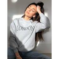 Embroidered Slogan Sweater - Grey Marl
