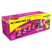 Whiskas Senior 7+ Wet Cat Food Pouches Poultry in Jelly Mega Pack