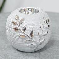 Textured Silver Tree Branch Ceramic Tealight Holder