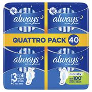 Always Ultra Night Sanitary Towels with Wings 40 Each - Only £5!