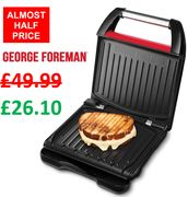 George Foreman Red Steel Grill (3-Portion) 25030