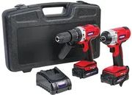 18V 2x 2Ah Li-Ion Cordless Combi Drill & Impact Driver Kit - Only £83.94!