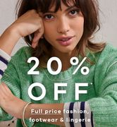 20% off Fashion, Footwear and Lingerie Orders over £30 at JD Williams