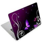 Laptop Skin Sticker Decal Cover Protector Notebook Removable, Purple Butterfly