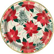 23cm Foil Red and Gold Poinsettia Christmas Plates - Only £0.58!