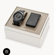 Editor Three-Hand Black Leather Watch and Wallet Box Set