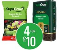 SupaGrow Organic Garden Compost 50L/ Premium Blended Topsoil 20L- Buy4 for £10