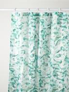 Leaf Print Fabric Shower Curtain & Hooks